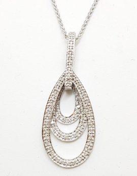 9ct White Gold Teardrop Diamond Pendant on 9ct Chain