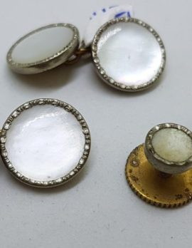Silver Plated Round Mother of Pearl Cufflink Set