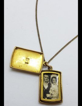 Gold Lined RAN Military Sweetheart Locket Pendant on Chain