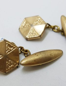 Gold Lined Ornate Hexagonal Cufflinks