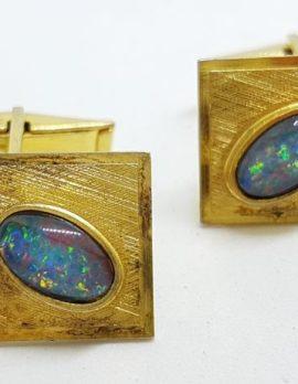 Sterling Silver Gold Plated Rectangular Opal Cufflinks