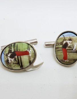 Sterling Silver Enamel Oval Golf Player Cufflinks