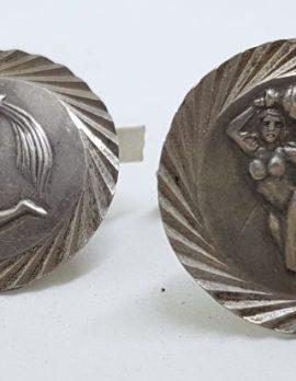 Sterling Silver Large Round Zodiac Cufflinks - Virgo