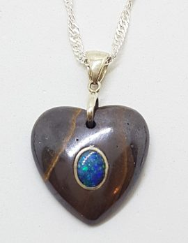 Sterling Silver Blue Opal in Ironstone Large Heart Pendant on Silver Chain