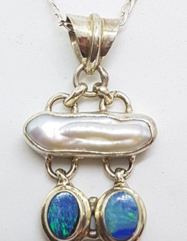 Sterling Silver Blue Opal & Blister Pearl Drop Pendant on Silver Chain
