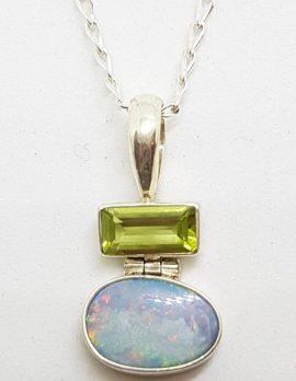 Sterling Silver Blue Opal & Peridot Pendant on Silver Chain