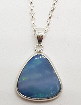 Sterling Silver Blue Opal Triangle Pendant on Silver Chain