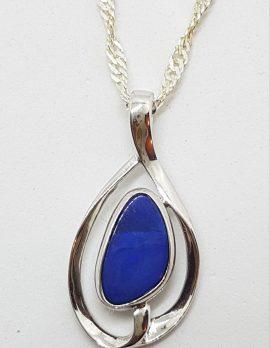 Sterling Silver Blue Opal Twist Pendant on Silver Chain