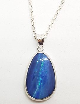 Sterling Silver Blue Opal Pendant on Silver Chain