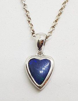 Sterling Silver Blue Opal Heart Pendant on Silver Chain