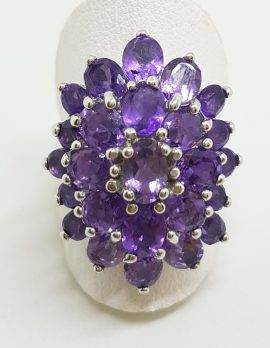 Sterling Silver Large Oval Amethyst Cluster Ring