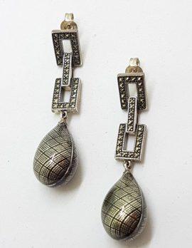 Sterling Silver Marcasite & Enamel Long Art Deco Style Drop Earrings