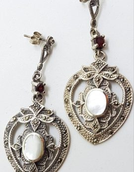 Sterling Silver Marcasite & Mother of Pearl Large Ornate Drop Earrings