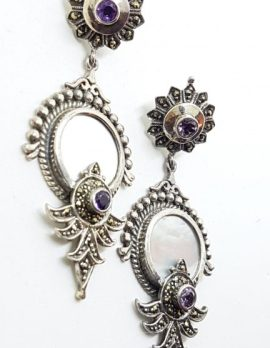Sterling Silver Marcasite, Amethyst & Mother of Pearl Large Ornate Art Deco Style Drop Earrings