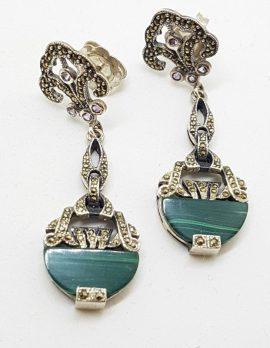 Sterling Silver Marcasite, Amethyst & Malachite Long Art Deco Style Drop Earrings