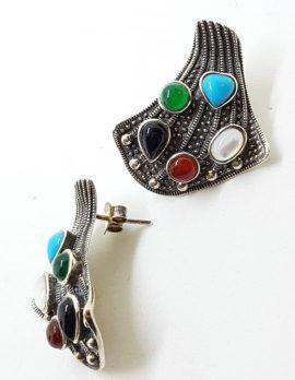 Sterling Silver Marcasite Large Multi-Gem Stud Earrings