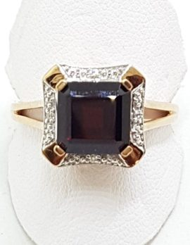 9ct Rose Gold Square Garnet with Diamonds Ring