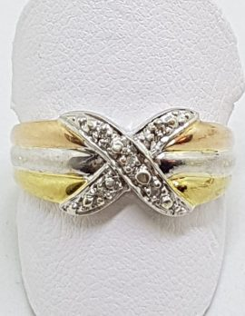 9ct Rose Gold, Yellow Gold and White Gold Diamond Crossover Design Ring - 3 Tone