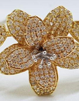14ct Three Tone Gold - Rose, Yellow, White - Large Cubic Zirconia Flower Hinged Bangle