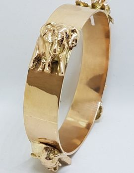 9ct Rose Gold Handmade Elephant Motif Diamond Bangle/Upper Arm Bangle - Large Size - Very Heavy