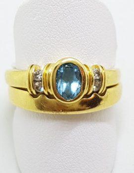 18ct Yellow Gold Oval Bezel Set Topaz & Diamond Wedding and Engagement Ring Set