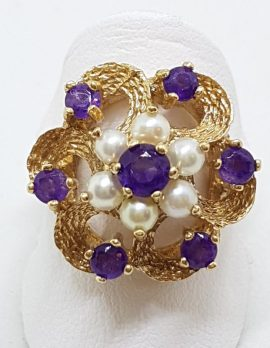 9ct Yellow Gold Amethyst Seedpearl Cluster Ring