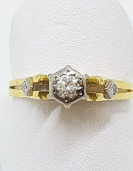 18ct Yellow Gold & Platinum Diamond High Set Engagement Ring