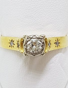 18ct Yellow Gold Diamond High Set Engagement Ring