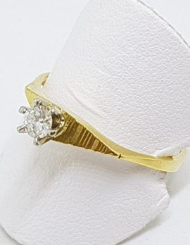 18ct Yellow Gold Claw Set Diamond Solitaire Ring