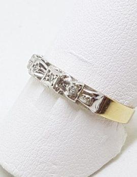 18ct Yellow Gold & Platinum Diamond Bow Design Eternity/Wedding Band Ring