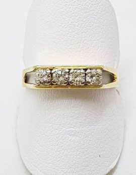18ct Yellow Gold Claw Set 4 Diamond Ring