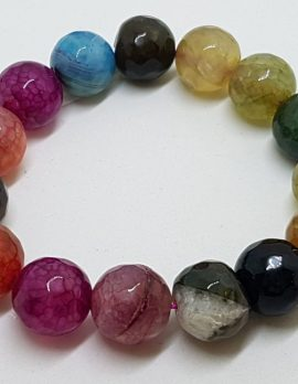 Multi-Colour Agate Elastic Bead Bracelet