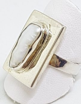 Sterling Silver Blister Pearl Rectangular Ring