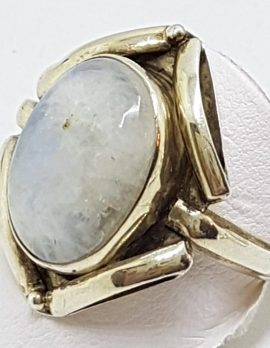 Sterling Silver Oval Cabochon Moonstone Ornate Large Ring