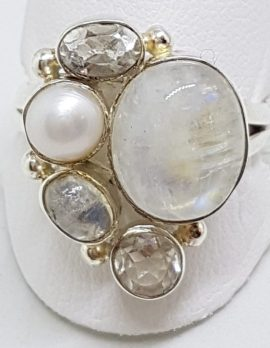 Sterling Silver Large Cabochon Moonstone, Pearl and Clear Crystal Quartz Cluster Ring