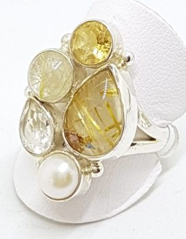Sterling Silver Cluster Citrine, Rutilated Quartz, Pearl & Clear Crystal Quartz Ring
