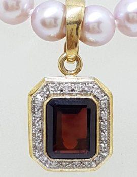 9ct Gold Garnet and Diamond Rectangular Enhancer Pendant on 9ct Gold Pearl Chain