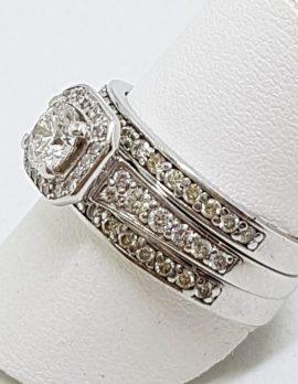 18ct White Gold Three Ring Diamond Engagement, Wedding, Eternity Ring Set - Square