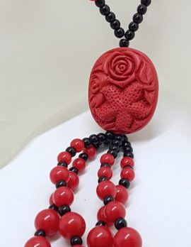 Cinnabar & Black Ornate Long Tassel Necklace