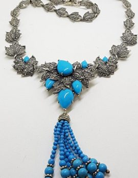 Stunning Sterling Silver Large and Long Reconstituted Turquoise and Marcasite Ornate Collier Drop Necklace / Chain