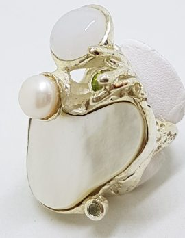 Sterling Silver Very Large Mother of Pearl, Moonstone, Pearl & Peridot Ring - Russian Designer