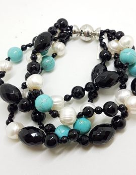 Multi Strand Onyx, Pearl and Turquoise Bead Bracelet