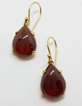 9ct Gold Cabochon Cut Garnet Drop Earrings