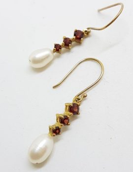 9ct Yellow Gold Garnet & Pearl Long Drop Earrings