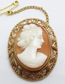 9ct Gold Ornate Filigree Oval Cameo Lady Head Brooch