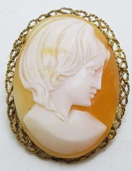 9ct Yellow Gold Filigree Rim Oval Lady Cameo Brooch
