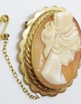 9ct Yellow Gold Oval Lady Cameo Brooch