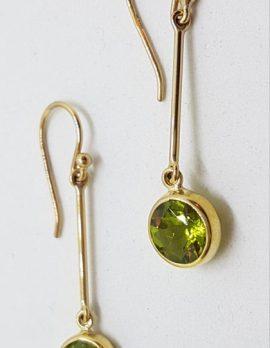 9ct Gold Long Peridot Drop Earrings