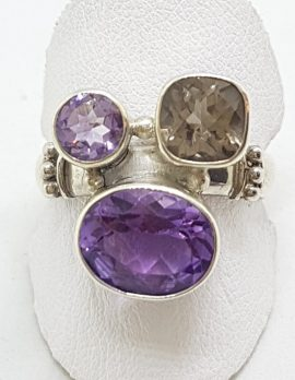 Sterling Silver Amethyst and Smokey Quartz Cluster Ring