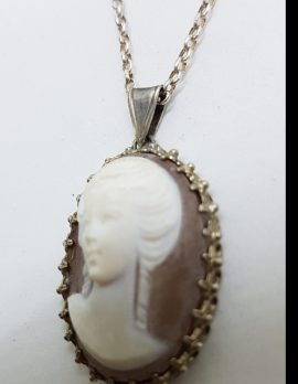 Sterling Silver Oval Ornate Lady Cameo Pendant on Silver Chain